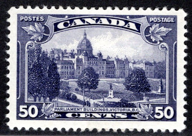 226 Scott - 50c dull violet, VF, MLHOG, Parliament Buildings BC, Canada Postage
