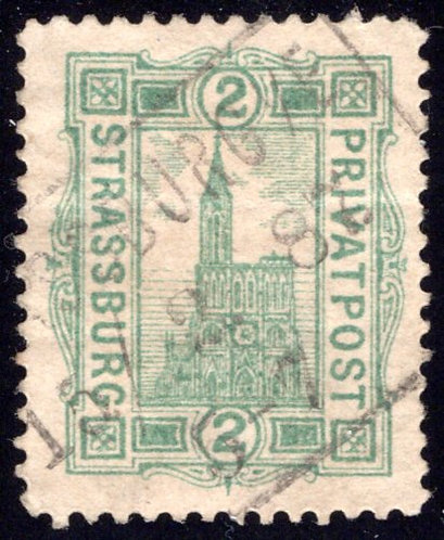 France, Strassburg, Local Post, Used, 2pf, light crease