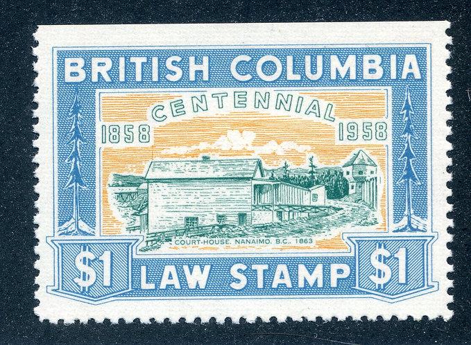van Dam BCL49 - $1 blue - MNH VF -British Columbia Law Stamp - 1958 Centennial