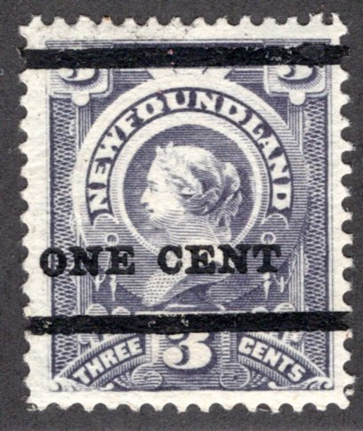 66a, NSSC, 1c (black) on 3 cent, gray; Type A; 17.5 mm bar spacing, Newfoundland