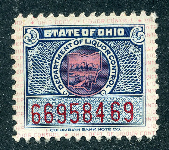 OH LS12 - 1946 - Used - 1c - Beverage - State of Ohio
