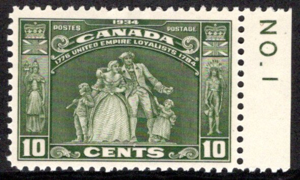 209 Scott, Canada, 10c, olive green, MLH, VF, Loyalists w/margin imprint from Pl