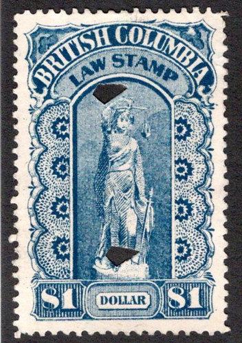 van Dam BCL15 British Columbia Law Stamp - $1 - ThirdSeries, p.12, XF/SU - 1893