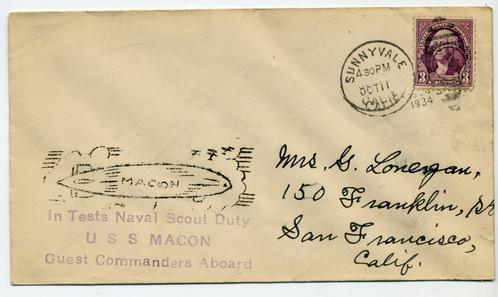 10/11/34 USS Macon In Tests - Naval Scout Duty - Guest Commanders Aboard -  Cache