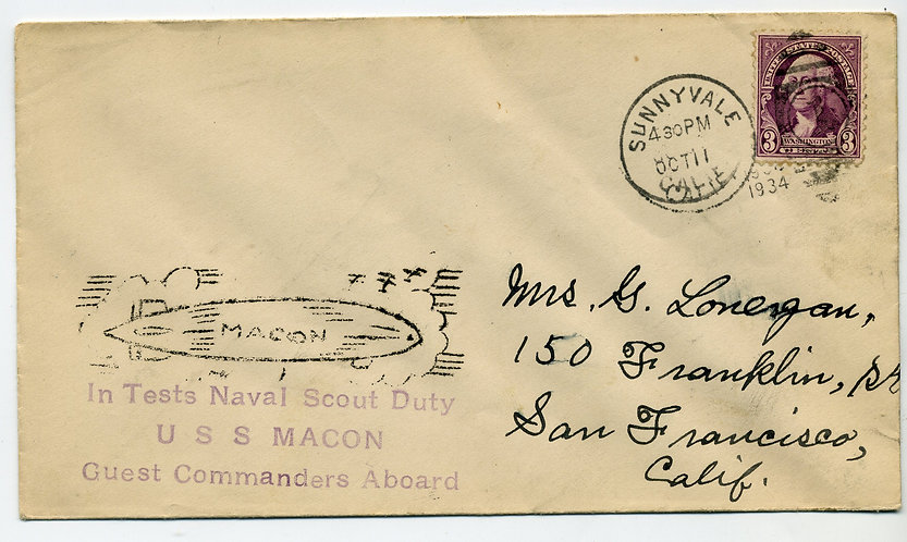 10/11/34 USS Macon In Tests - Naval Scout Duty - Guest Commanders Aboard - Cache