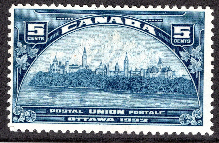 202 Scott, 5c dark blue, MHOG, UPU Meeting, F, Canada Postage Stamp