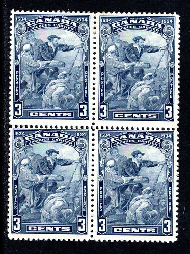 208 Scott, 3c blue, MLHOG, Jacques Cartier, F, Block of 4, Canada Postage Stamp