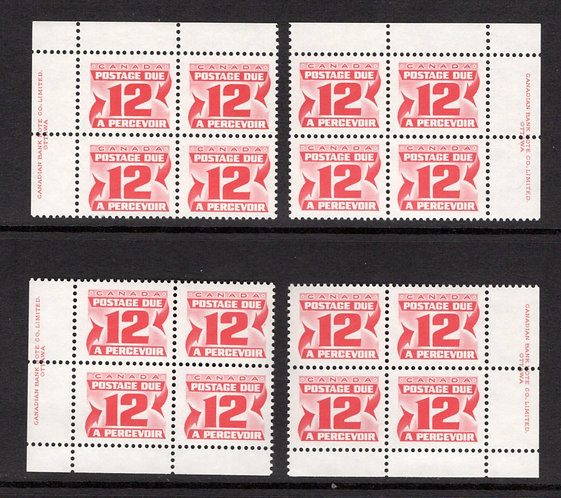 Scott J36a, 12c, VF, MNHOG, 4th issue, Set of 4 Plate Blocks of 4, Canada Postag