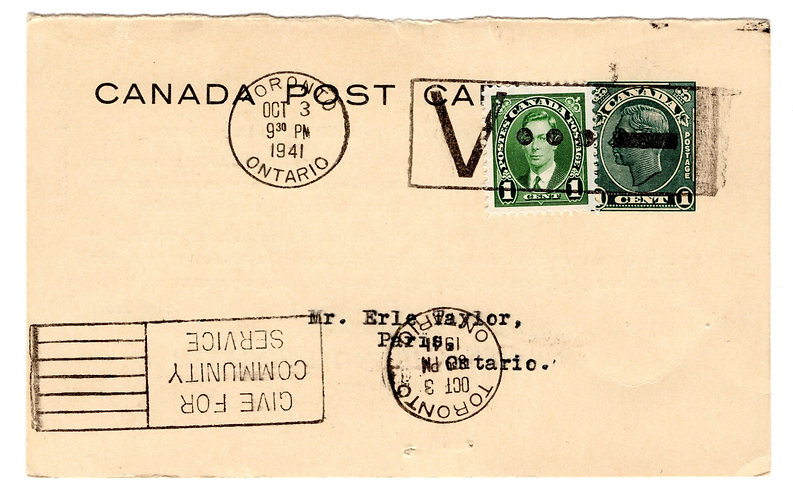P167, 1c, Type 5, O/38, CBN Profile Issue, Regular Issue Canada Post Card