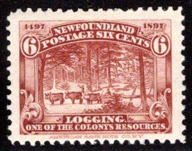 57, NSSC, Newfoundland, Canada, 5c, F/VF,MLHOG, Logging, Scott 66