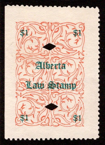 van Dam AL15 -$1 red (green), used, VF/XF, Alberta Law Revenue Stamp