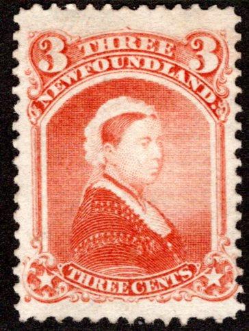34, NSSC, Newfoundland, Canada, 3c, F, MLHOG, Queen Victoria, PostageStamp