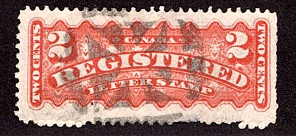 "F1, 2c, Registration, Canada, p12 , INTAGLIO LINES IN BROKEN CIRCLE"" Fancy Cork"