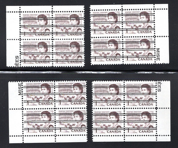 454xx, Scott, 1c, Matched PB Set, Centennial Definitives, Canada Postage Stamps