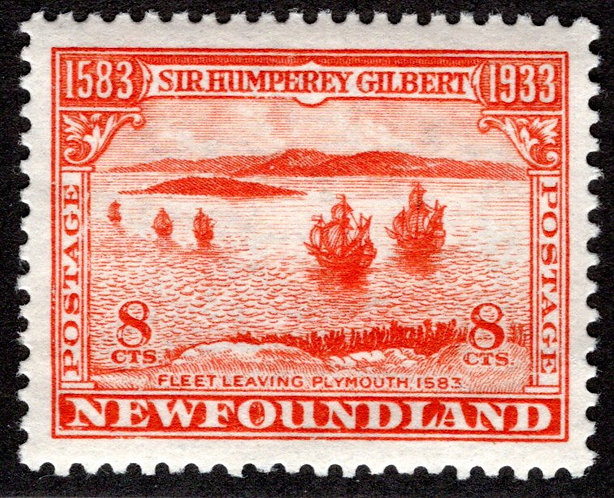201, NSSC, Newfoundland, 8c, VF/XF, MLHOG, Fleet Leaving Plymouth