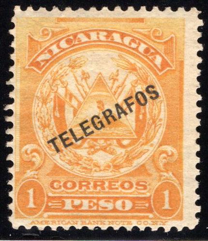 Nicaragua, RH143, H143, Type 37, 1p yellow-orange - Telegraph Revenue