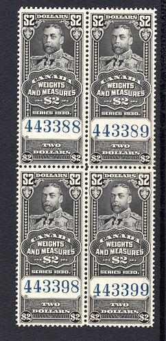 van Dam FWM69 - $2 Black - MNHOG- 1930 George V - Canada Weights and Measures R