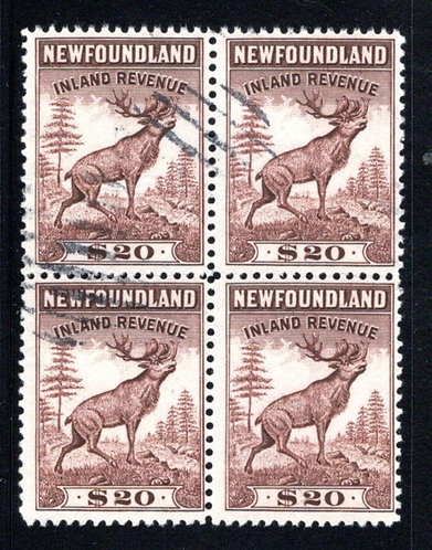 R33a, NSSC, $20, brown F/VF, p.12, 1942, Used block of 4, Newfoundland Revenue