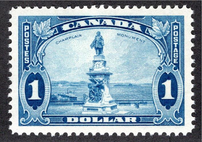 Scott 227, $1 blue, VF+, MNHOG, Champlain's Statue, Canada Postage Stamp