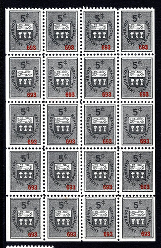 ST12b, 5c gray black, booklet pane of 20, VF, MNH,Saskatchewan Telephone Revenue