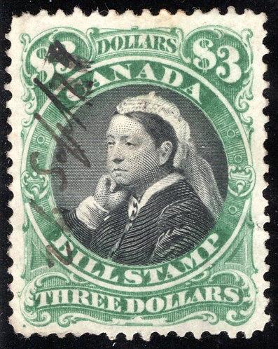 van Dam FB54,$3, Used, F/VF, Third Bill Issue, Revenue Stamp