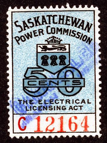 "van Dam SE20 - Used - 50c Blue ""C"" - Saskatchewan Power Commission"