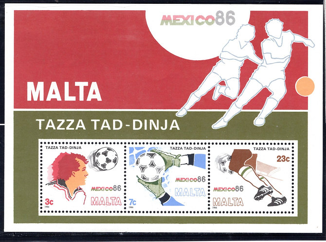 681a Malta, 1986 World Cup Soccer Championships Mexico, MNHOG Souvenir Sheet