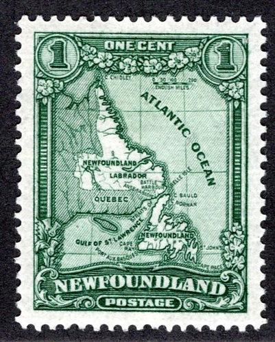 137a, NSSC, Scott, Newfoundland, 1c, deep green, major misplaced entry (pos. 60)