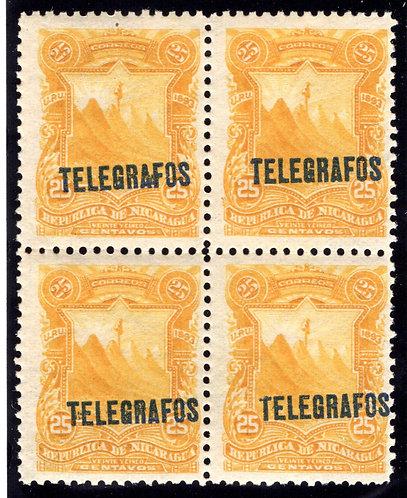 RH#31,H31, Type 6 - 25c orange yellow- MNHOG - block - Nicaragua Telegraph Rev