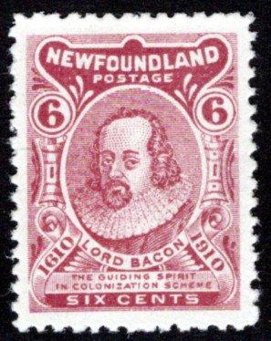 84, NSSC,6¢ Lord Bacon, Die II (z normal), F/VF, MLHOG, p.12, Newfoundland