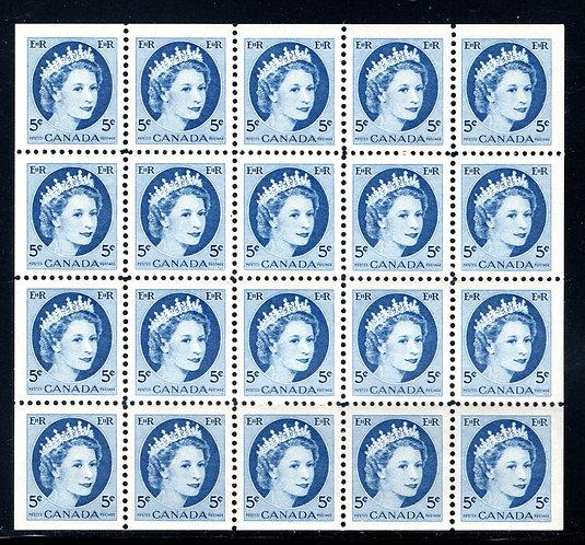 341b Scott, 5c bright blue, VF, QEII Wilding Issue, Miniature Pane of 20 (5x4),