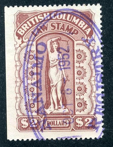 van Dam BCL44 - $2 red brown -British Columbia Law Stamp - 1948-1957 Ninth Ser