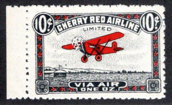 CL46, Canada, 10c, Cherry Red Airline (Saskatchewan), MNHOG, 1929, Private Comme