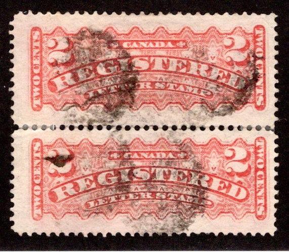 F1, 2c, Registration Stamps, Canada, p12 , Vert Pair, pale rose carmine, Used