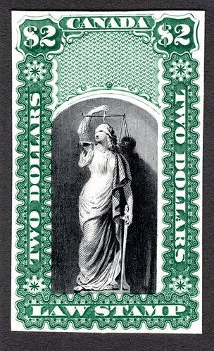 OL12, QL11, van Dam $2, green & Black, Plate Proof, no overprint, Canada Law Sta