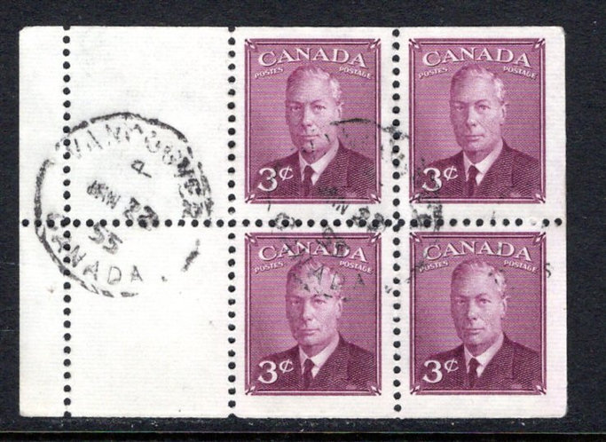 """Scott 286b, 3c, used, KGVI, with """"postes-postage"""", booklet pane of 4x3c+2labels"""