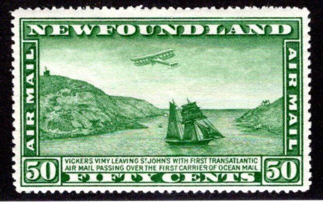 AM8b, NSSC, Newfoundland, 50c, Air Mail, MLHOG, p. 14.2x13.8
