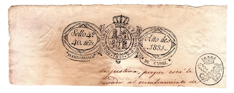 King Fernando VII, Manuscripto Header, 1831, embossed and handstamped