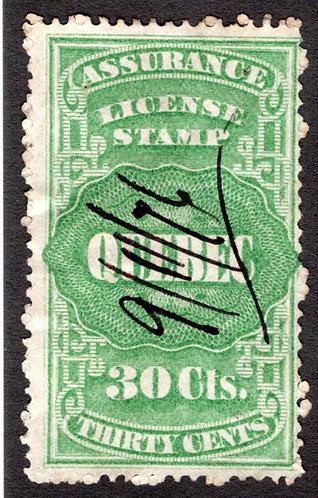 QA8, van Dam, 30c green, Canada, Quebec, License Assurance, F, Revenue Stamp