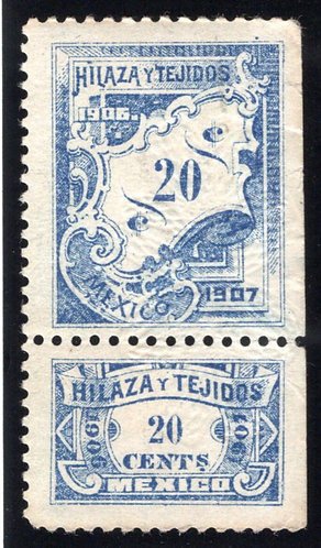 HT 91A, 20c, 1906-1907, Numerals on Plaque, Beautiful Embossed Floral Pattern