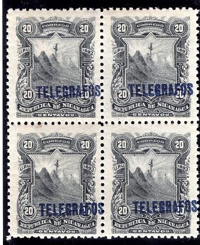 RH#30,H30, Type 6 - 20c grey black - MNHOG - block - Nicaragua Telegraph Revenu