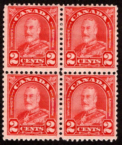 "Scott 165, Die I, 2c deep red, ""Arch"" issue, MH, Block of 4, Canada Postage Stam"