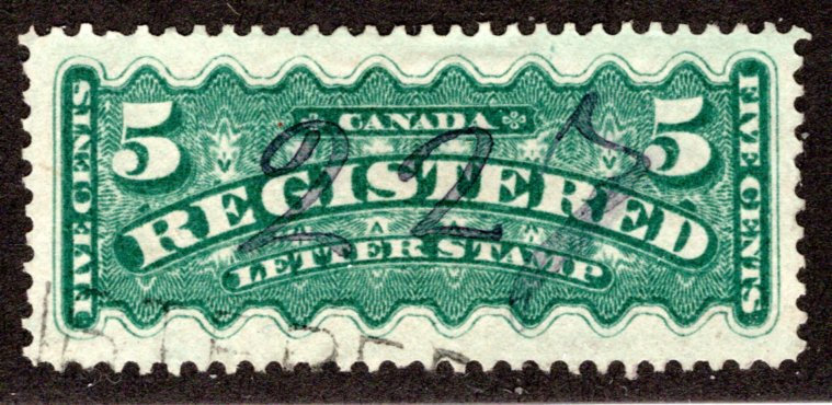 F2,used, XF, Canada Registration BOB Stamp