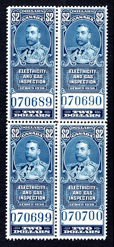 van Dam FEG9, $2, blue, MNHOG, block of 4, 1930, VF, George V, Electricity and G