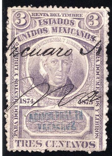 DO 3, Mexico, 1874-1875, 3c, Documentary, Used Revenue