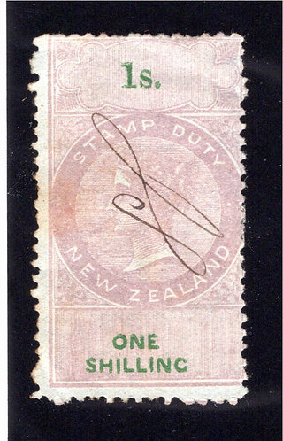 1867 New Zealand, 1/-, Stamp Duty, Used, F, p12.5, w/m NZ