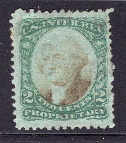 Scott RB2b, 2c Green & Black on green paper Proprietary, Used