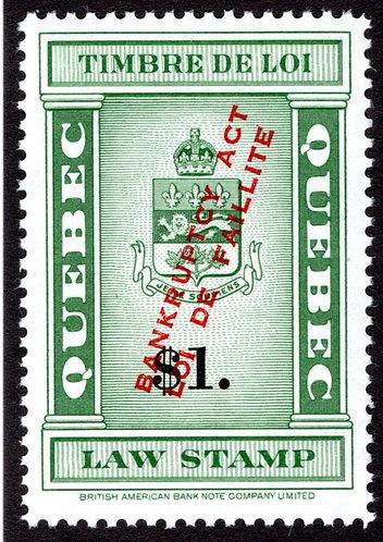 """van Dam QL118 -$1 green & black,""""Bankruptcy Act"""",EF, MNHOG, Quebec Law Revenu"""