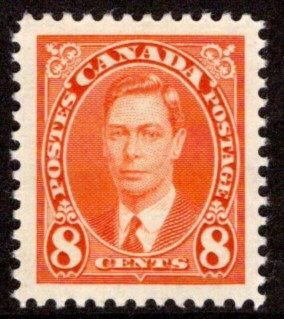 236, Scott, Canada, 8c, KGVI Mufti Issue, MLHOG. VF/XF, Postage Stamp