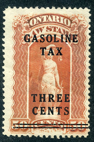 van Dam OGT3 - Ontario Gasoline Tax - 3¢ on 50¢ Red -  MHOG - Perf 11